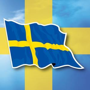【國旗商品創意館】瑞典國旗飄揚抗UV、防水貼紙2入/Sweden/多國款可選購