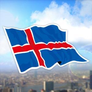 【國旗商品創意館】冰島國旗飄揚抗UV、防水貼紙2入/Iceland/多國款可選購