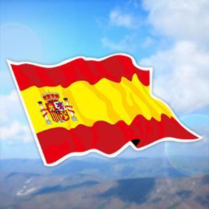 【國旗商品創意館】西班牙國旗飄揚抗UV、防水貼紙2入/Spain/多國款可選