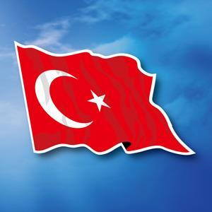 【國旗商品創意館】土耳其國旗飄揚抗UV、防水貼紙2入/Turkey/多國款可選購