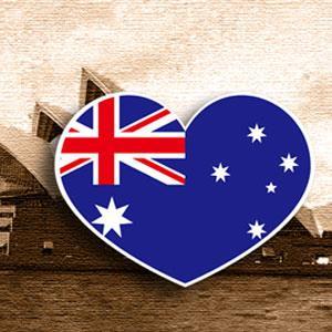 【國旗商品創意館】澳洲國旗愛心形抗UV、防水貼紙2入/Australia