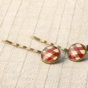 【輕靈之森】蘇格蘭格紋髮夾一對‧手工療癒系