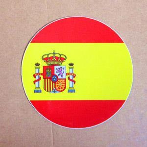 【國旗商品創意館】西班牙國旗圓形抗UV、防水貼紙/Spain/世界多國款可選購