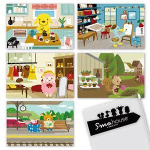 Smohouse [PoCa] 插畫明信片:日常生活明信片5枚+拉鍊袋組