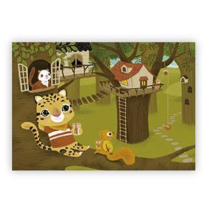 Smohouse [PoCa] 插畫明信片:台灣雲豹喝珍奶