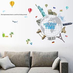 Christine創意組合DIY壁貼/牆貼/兒童教室佈置(可重複貼) 旅遊全世界