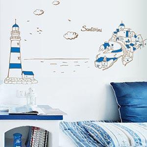 Christine創意組合DIY壁貼/牆貼/兒童教室佈置(可重複貼) 地中海城市