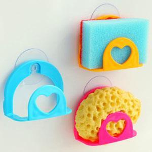 廚房水槽愛心造型吸盤式海綿置物架/香皂盒