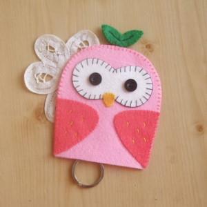 手縫ok!-貓頭鷹鑰匙包粉色(不織布材料包)