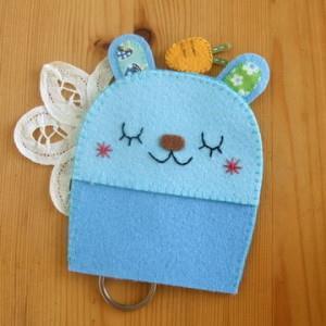 手縫ok!-吉米兔鑰匙包藍色(不織布材料包)