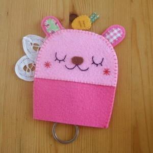 手縫ok!-吉米兔鑰匙包粉色(不織布材料包)