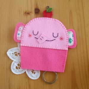 手縫ok!-大象鑰匙包粉色(不織布材料包)