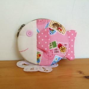 手縫ok!-魚形零錢包:粉紅(拼布材料包)