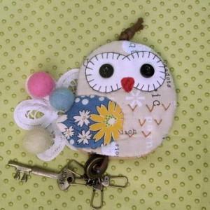 手縫ok!-貓頭鷹鑰匙包(拼布材料包)