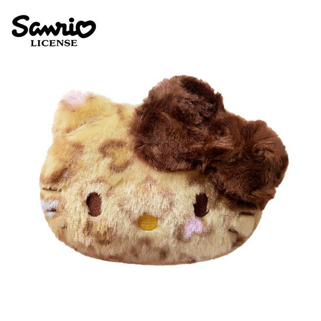 Hello Kitty 凱蒂貓 咖啡色 立體蝴蝶結 豹紋化妝包 錢包 收納包