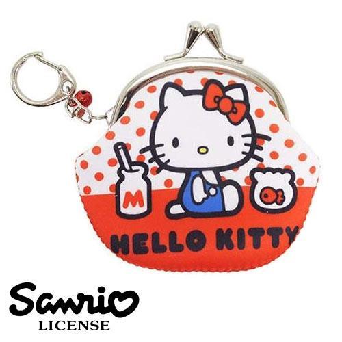 Hello Kitty 凱蒂貓 珠扣包 防震零錢包 零錢 耳機 收納包