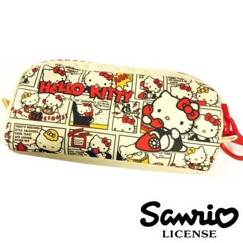 Hello Kitty 米黃色款 大拉鏈 立體帆布筆袋 鉛筆盒 收納袋 凱蒂貓 三麗鷗