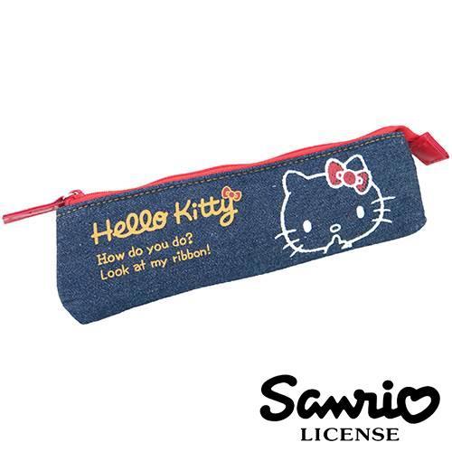 Hello Kitty 凱蒂貓 牛仔立體筆袋 鉛筆盒 長型筆袋 三麗鷗