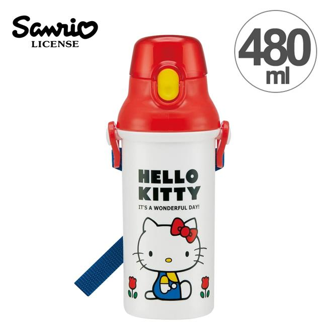 Hello Kitty 凱蒂貓 彈蓋頭型 直飲式水壺 水壺 480ML 日本製 附背帶 三麗鷗
