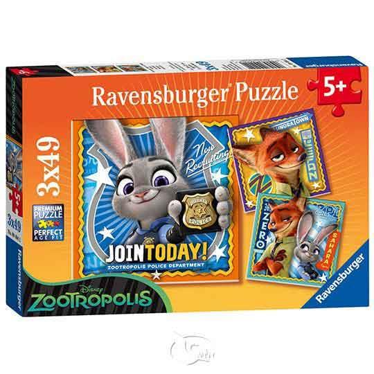 【德國Ravensburger拼圖】動物方城市:茱蒂與尼克-3x49片Disney: Zootopia