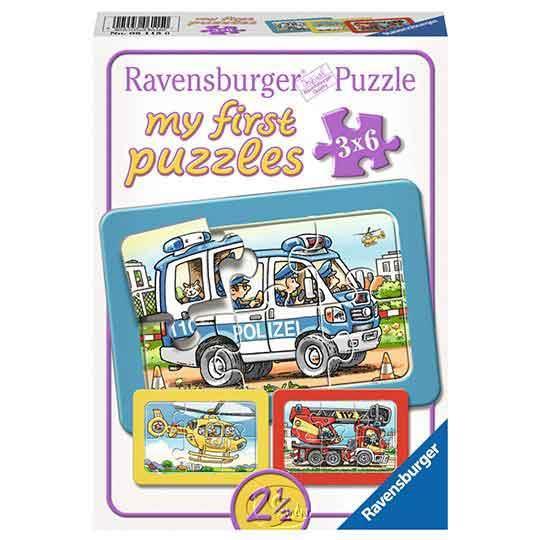【德國Ravensburger拼圖】【我的第一幅拼圖】消防車、警車、救護車-3x6片My first Puzzle - Fire Department, Police, Ambulance