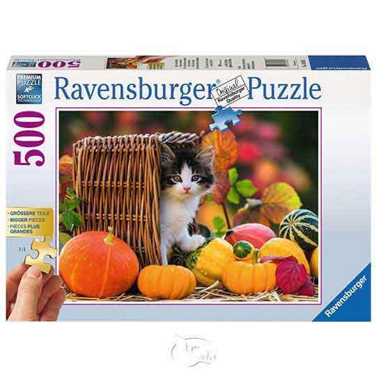 【德國Ravensburger拼圖】秋日裡的南瓜小貓-500片Kitten in Autumn