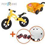 【BabyTiger虎兒寶】POPBIKE 兒童平衡滑步車 - AIR充氣胎 + 安全拖車組(黃)