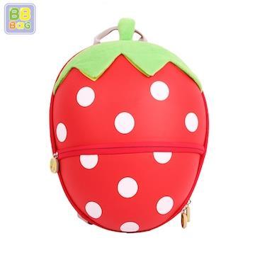 【韓國 BB BAG】 防走失可愛動物後背包書包(附收納袋)-草莓