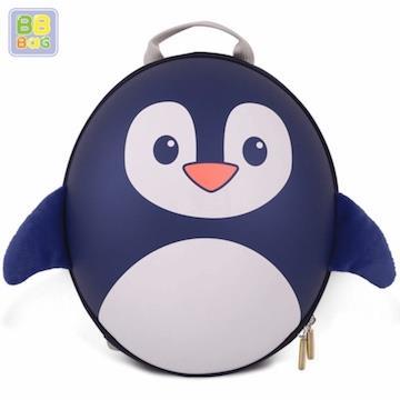 【韓國 BB BAG】 防走失可愛動物後背包書包(附收納袋)-藍企鵝