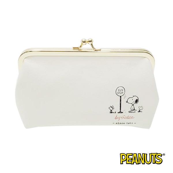 史努比 Snoopy 皮革 珠扣 收納包 化妝包 防潑水 PEANUTS
