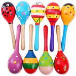 嬰幼兒玩具彩色木質沙鈴(小款)隨機出貨