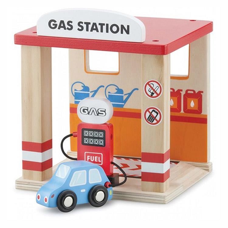 《 荷蘭 New Classic Toys 》木製車車加油站玩具