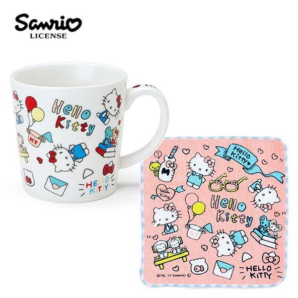 凱蒂貓 陶瓷 馬克杯 小方巾 250ml 咖啡杯 Hello Kitty 三麗鷗 Sanrio