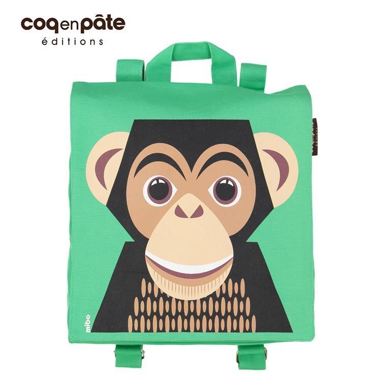 【虎兒寶】COQENPATE 法國有機棉無毒環保布包 - 小童寶包幫- 黑猩猩