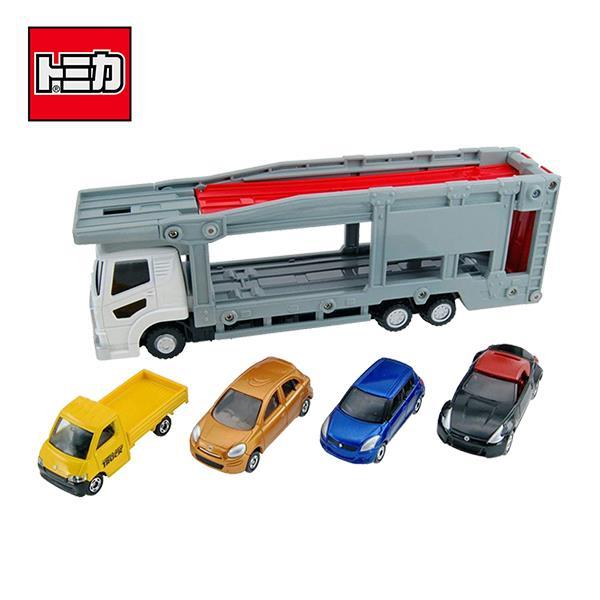 TOMICA 新汽車運輸車 附4台小車 多美小汽車 玩具 收納小車