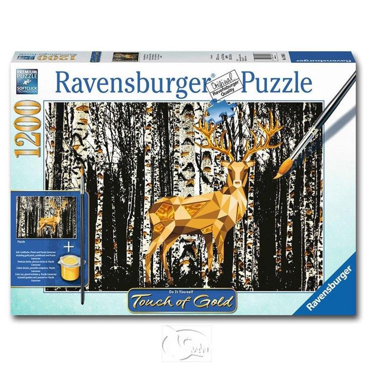 【德國Ravensburger拼圖】手繪金漆-樺樹林小鹿-1200片
