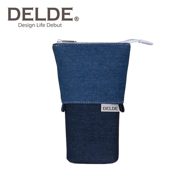 DELDE 丹寧風系列 細長 伸縮筆袋 筆筒 鉛筆盒 收納包 sun-star