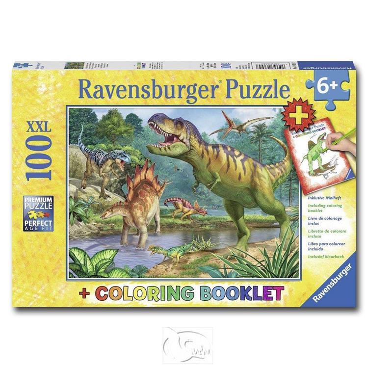 【德國Ravensburger拼圖】恐龍世界&著色書-大拼片拼圖-100XXL片