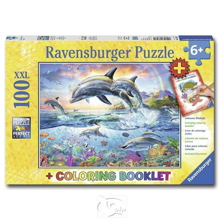 【德國Ravensburger拼圖】活力海豚&著色書-大拼片拼圖-100XXL片
