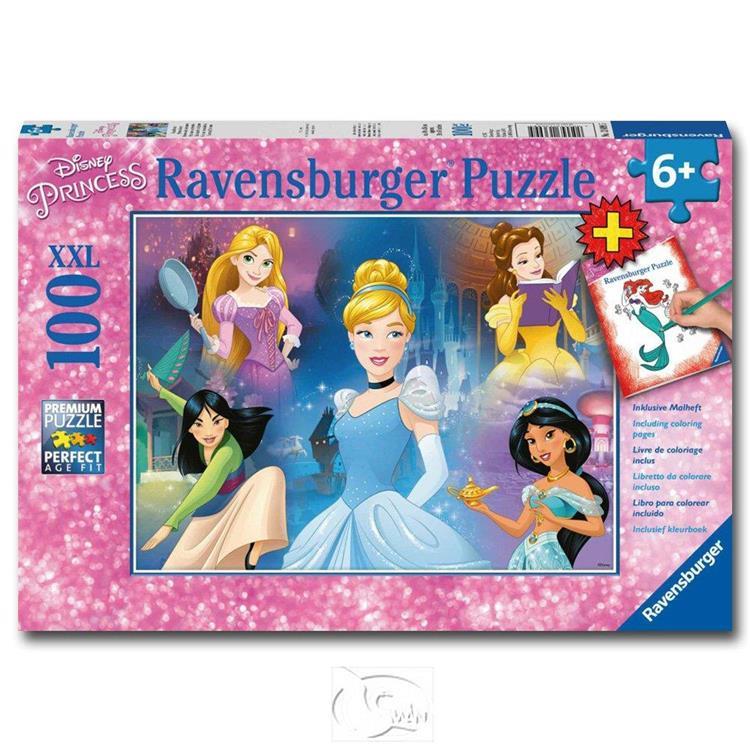 【德國Ravensburger拼圖】迪士尼:迷人的公主&著色書-大拼片拼圖-100XXL片