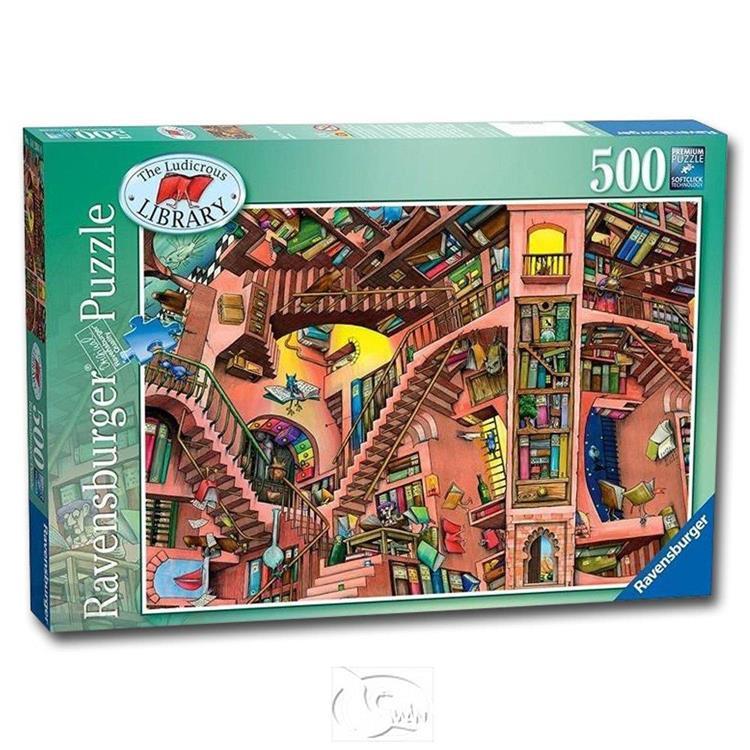 【德國Ravensburger拼圖】科林湯普森:滑稽的圖書館-500片