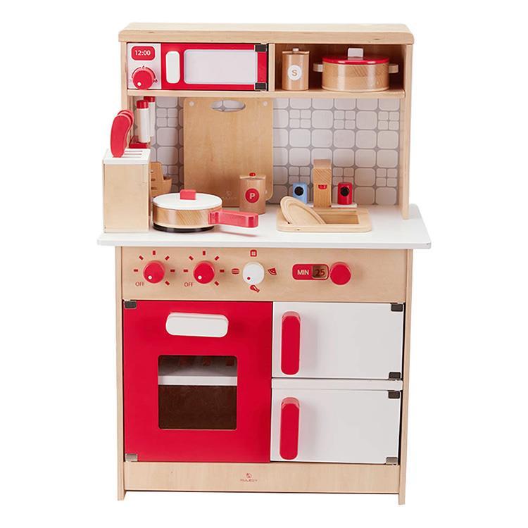 【木樂地Muledy】經典紅白木製廚房玩具《加送配件14件組》