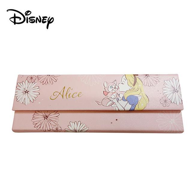 愛麗絲 皮質 三角眼鏡盒 折疊眼鏡盒 眼鏡盒 附拭鏡布 愛麗絲夢遊仙境 迪士尼