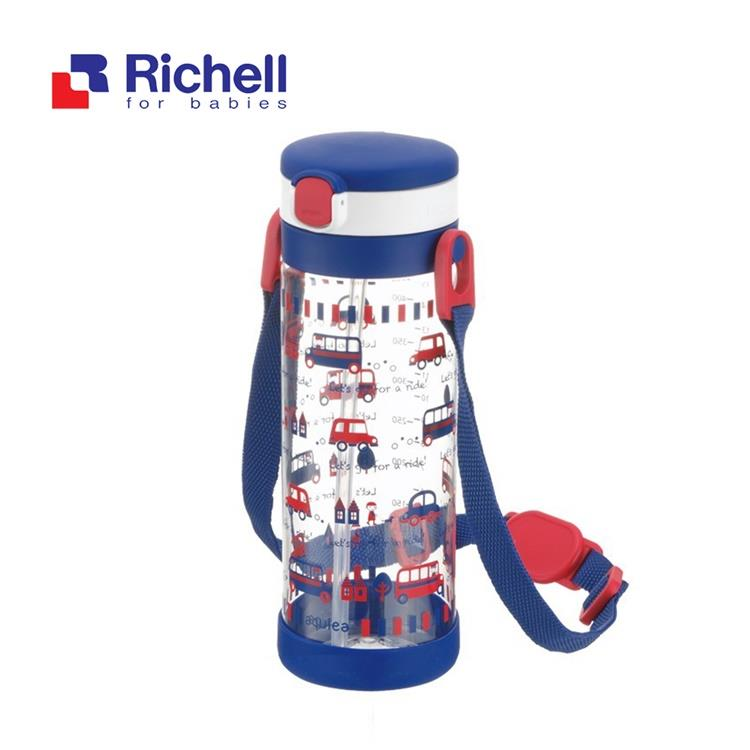 【Richell 利其爾】第四代LC 450ml 吸管式冷水壺 - 貝克街 【附背帶】