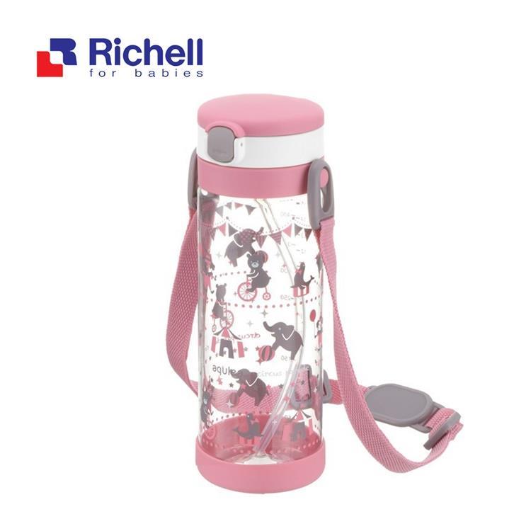 【Richell 利其爾】第四代LC 450ml 吸管式冷水壺 - 粉紅派對 【附背帶】