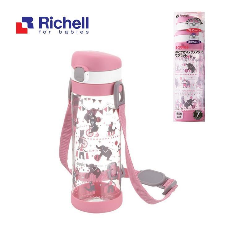 【Richell 利其爾】第四代LC 450ml 直飲式冷水壺 - 粉紅派對【附背帶】