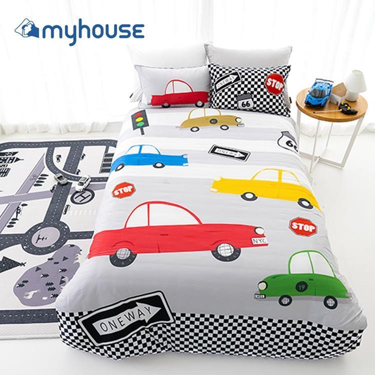 【虎兒寶 】myhouse 韓國超細纖維兩件式四季枕被組  - 瘋狂賽車