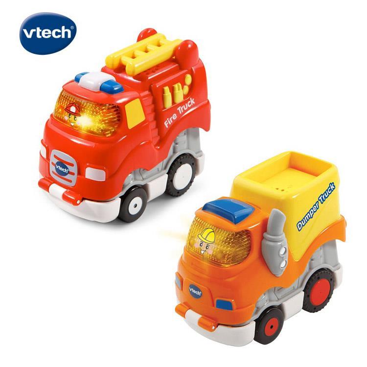 【英國 Vtech】嘟嘟聲光迴力衝鋒車 - 酷炫消防車 + 酷炫傾卸車