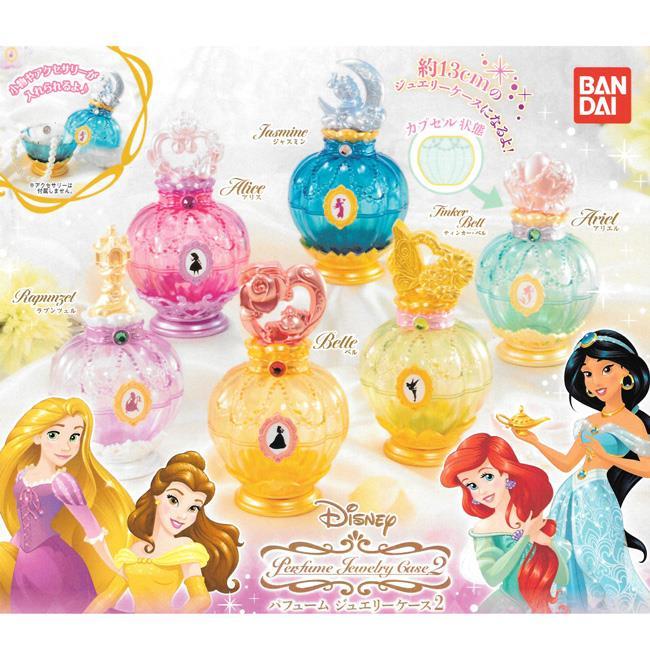 全套6款 迪士尼公主 香水造型 珠寶盒 P2 扭蛋 轉蛋 環保蛋殼 小物收納 BANDAI 萬代