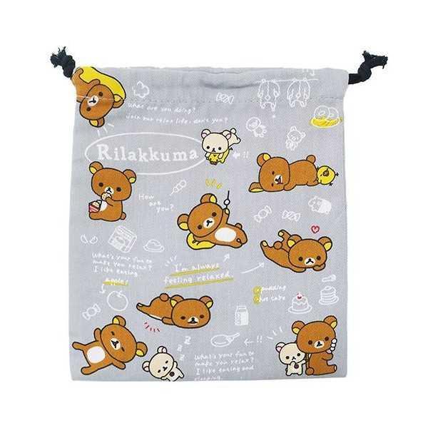 【大國屋】SAN XRilakkuma拉拉熊 懶懶熊束口袋(灰)
